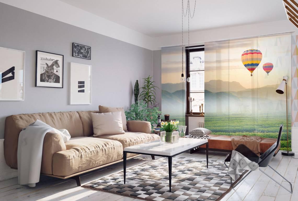 La-Melle - Schiebgardine Wohnzimmer Heißluftballon-Motiv