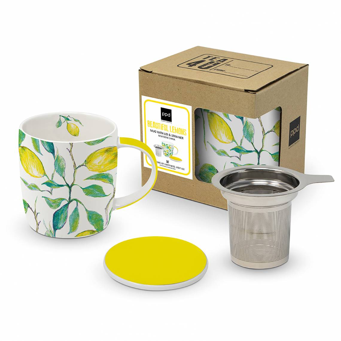 Paperproducts Design Mug Lid & Strainer Beautiful Lemons – 603956
