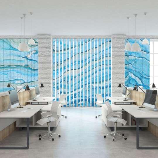 Lamellenvorhang Büro blaues Motiv