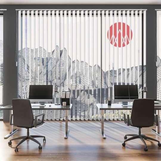 Lamellenvorhang Büro abstraktives Bergmotiv