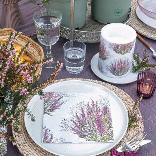 Ambiente - Calluna - Tischdekor - Servietten und Kerzen