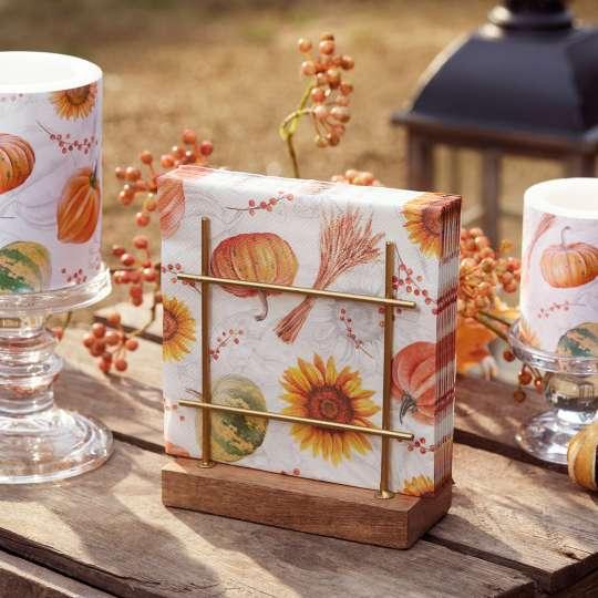 Ambiente - Pumpkins&Sunflowers - Herbstdekoration - Servietten & Kerzen