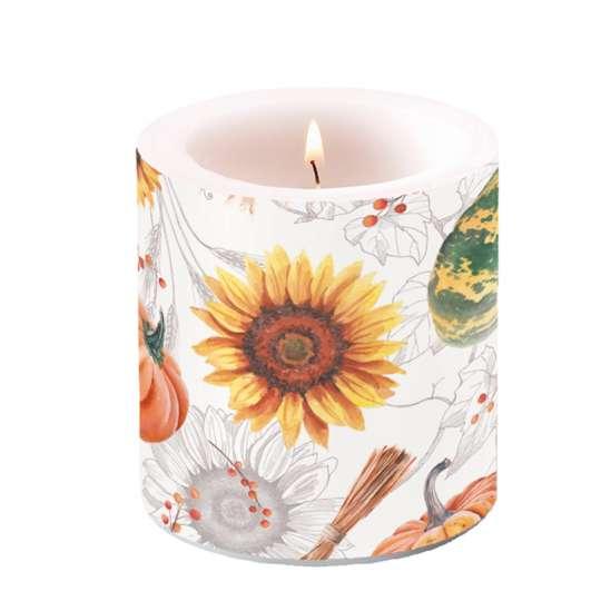 Ambiente - Pumpkins&Sunflowers - Kerze klein, 7,5x7,5 cm