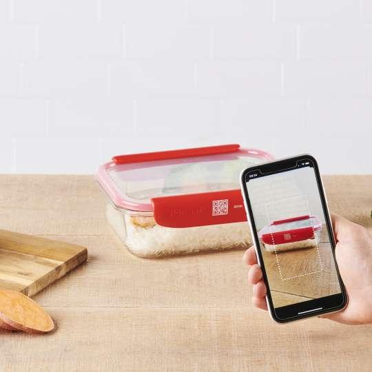 Mastrad Aufbewahrungsbox geschlossen farbig rot mit QR Code & App F93xxx