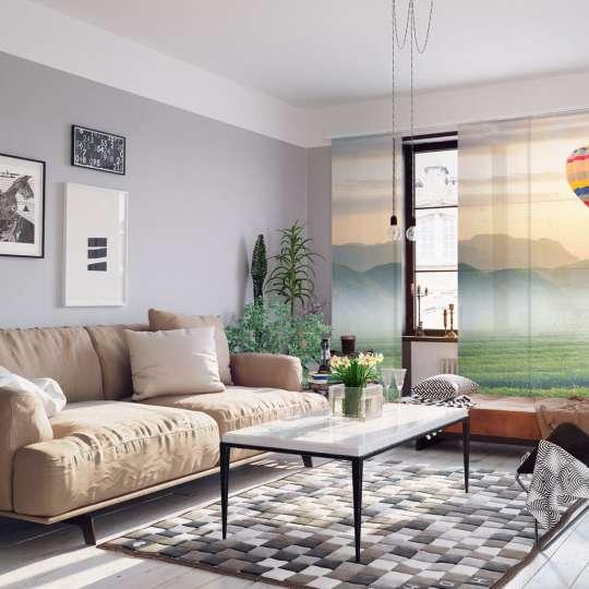 La-Melle - Schiebegardine Wohnzimmer Heißluftballon-Motiv