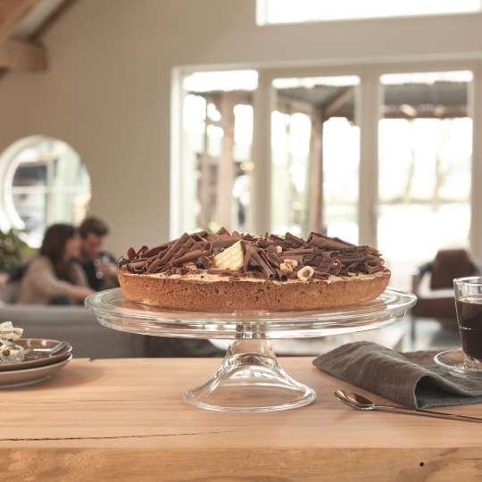 Leonardo Tortenplatte auf Fuss mit Schokoladenkuchen