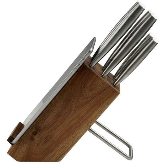 Nirosta - Messerblock aus Akazienholz