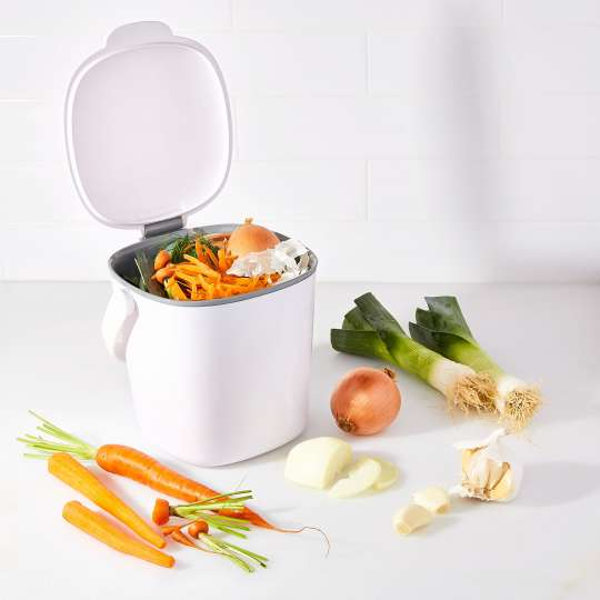 OXO - Komposteimer, 2,83 l - weiß - geöffnet