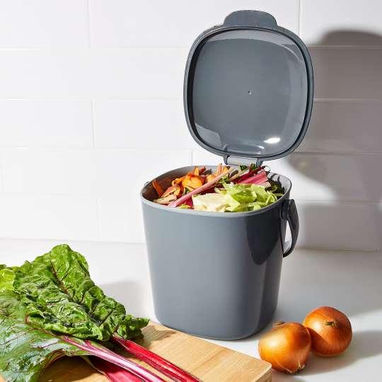 OXO - Komposteimer, 2,83 l - grau - geöffnet