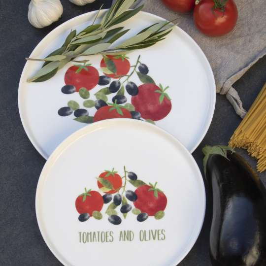 PPD Tomatoes&Olives Plates mit Olivenzweig