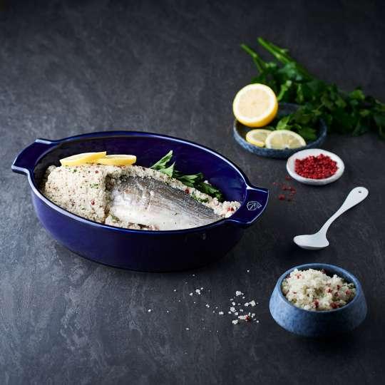 Peugeot Saveurs - Appolia - ovale Auflaufform tiefblau - Fisch