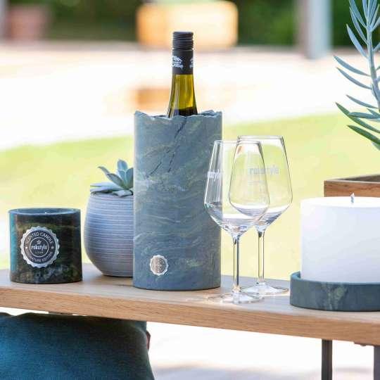 Rokstyle: Weinkühler aus Marmor und Kerze aus Naturstein-RL015