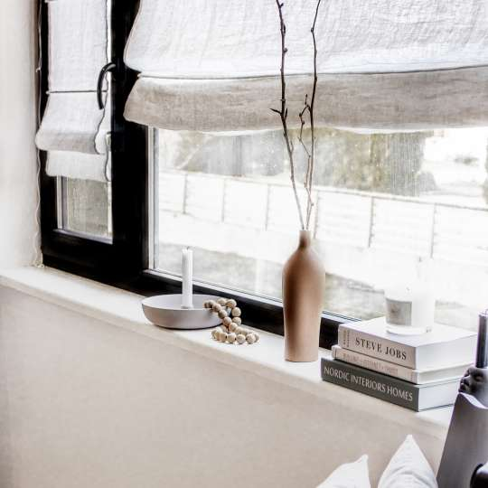 Schulz Home - Raffrollo mit Fensterrahmenbefestigung - Kette und braune Vase