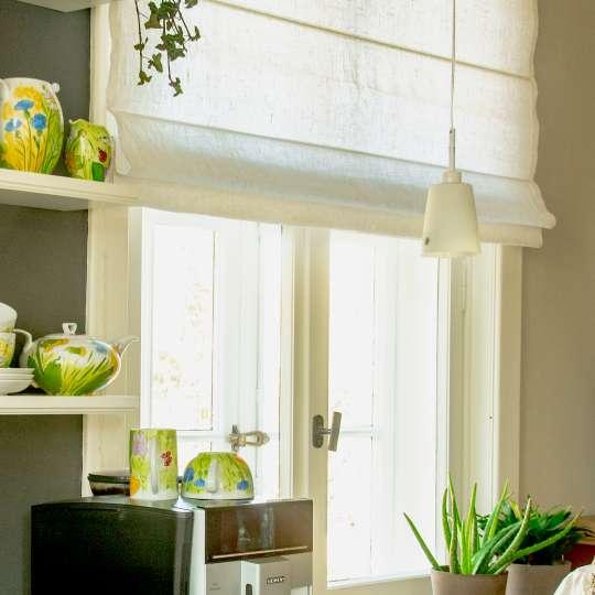 Schulz Home - Raffrollo - Porzellangeschirr Blumen