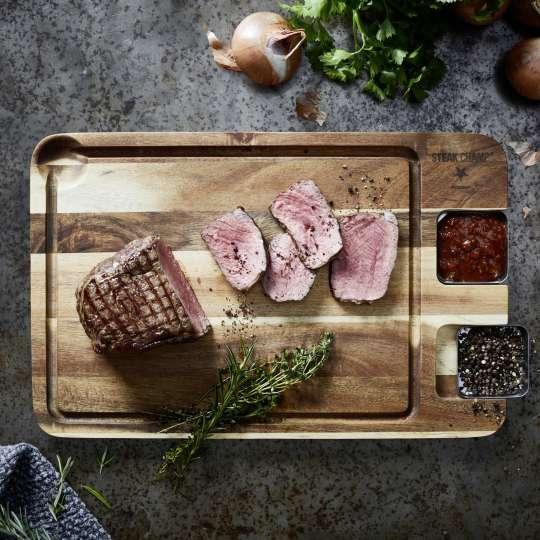 SteakChamp 10-5020 Eating Board mit abnehmbaren Saucieren
