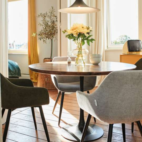 Tom Tailor Modern Table Round - Dining in NATURE, GREEN & MUSTARD