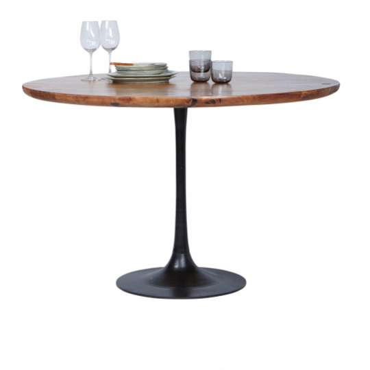 Tom Tailor MODERN TABLE ROUND, ø 120 cm x 76 cm, dunkles Mangoholz und schwerer Metallfuß
