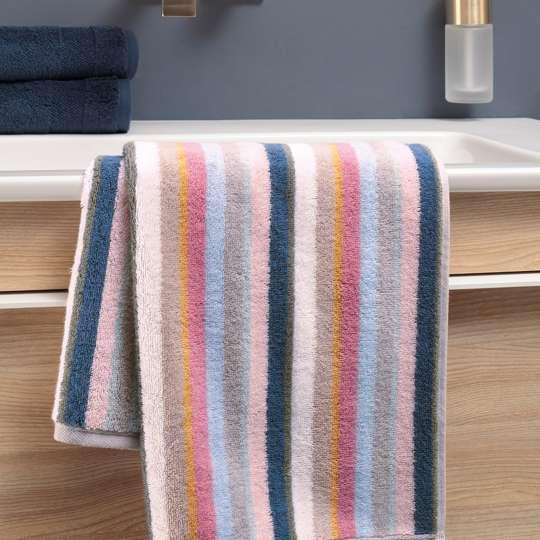 Villeroy & Boch - Badtextilien - Kombination - blau-pink - Streifen - Waschbecken