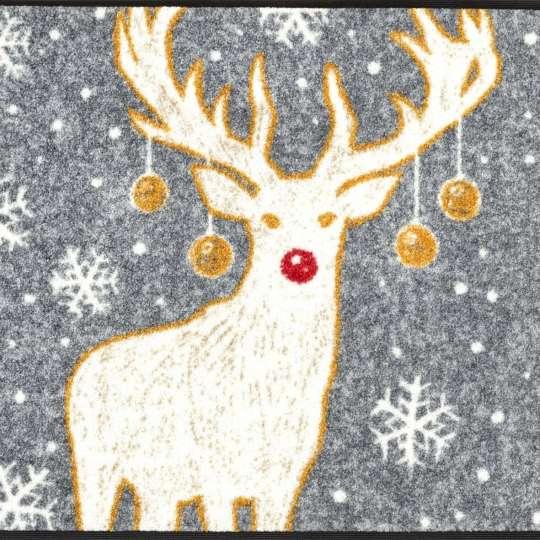 Weihnachtliche Fussmatte mit Hirsch Motiv