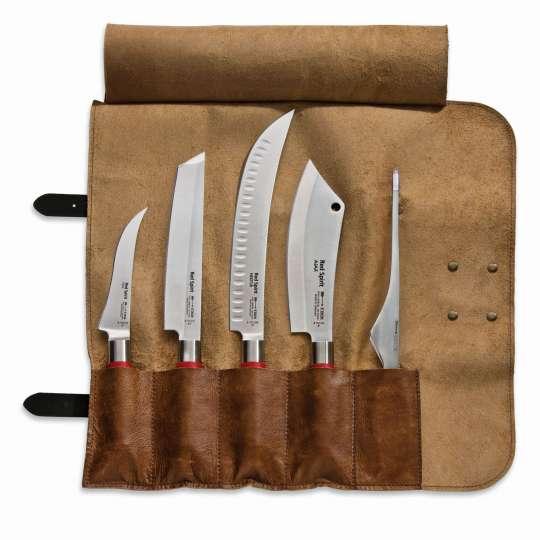 Dick Grilltasche geöffnetmit der Messer-Serie AJAX Red Spirit