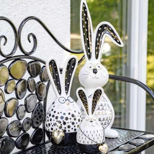 Formano - Lustiger Hase goldenem Herzen und Brille- Art.-Nr. 700124 – 700148 - Moderne Osterfigur Hase -  mit schwarz-goldenem Dekor verziert Art.-Nr. 701220