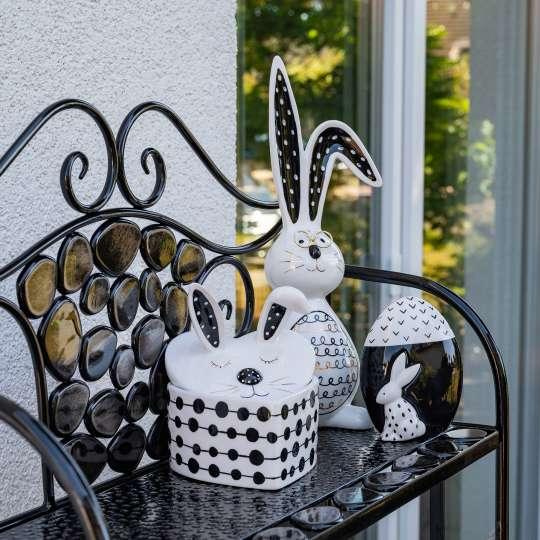Formano - Dose in Herz-Form Schwarz-weiß verziert - 700186 - Deko Ei Art-Nr.: 700704 – Hase mit schwarz-goldenem Dekor 701220