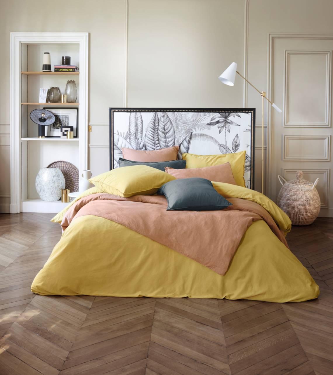 Linvosges:  Französischer Chic Bettwäsche gelb gewaschener Satin