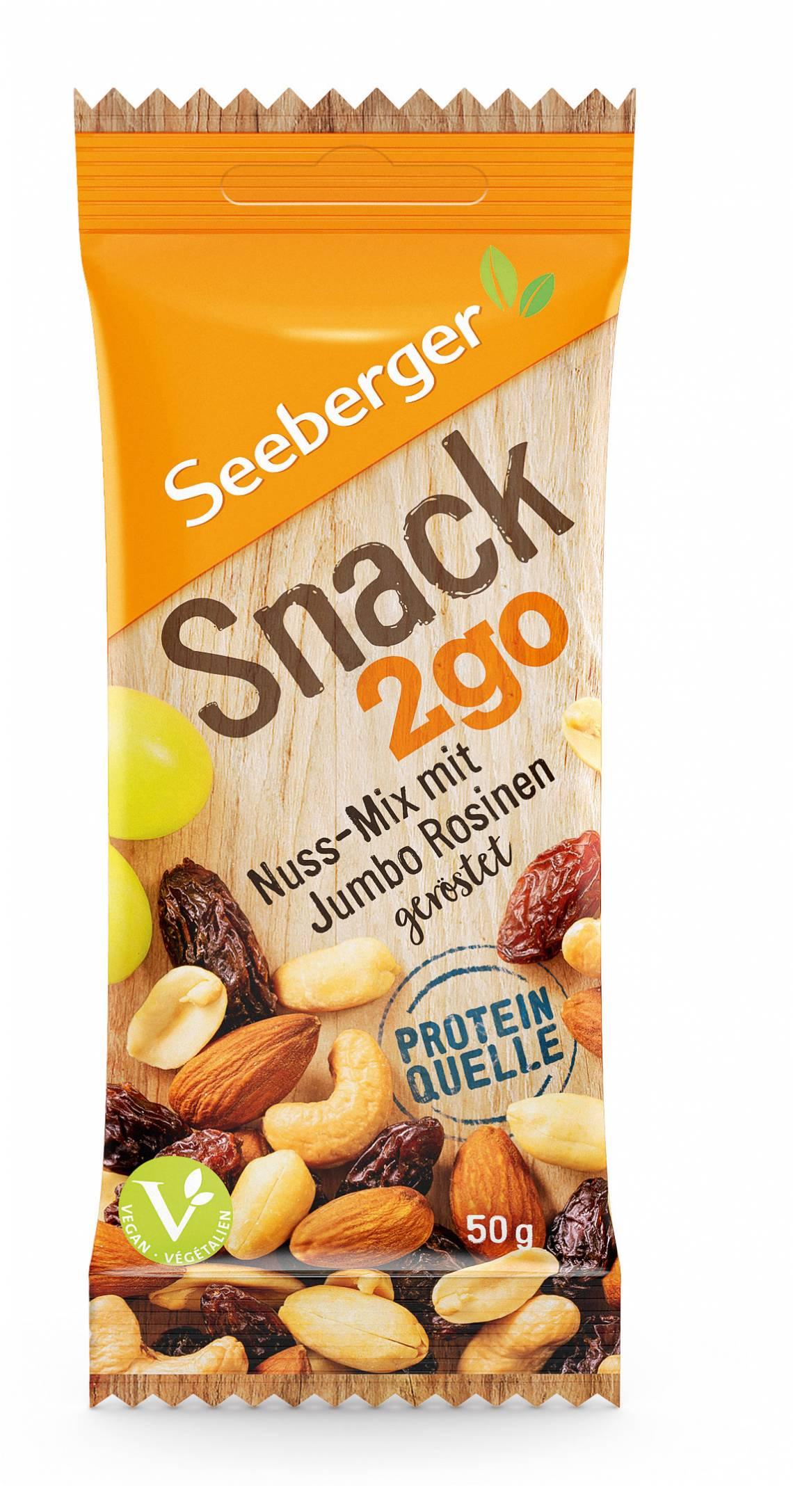 Seeberger: Snack2go / Nuss-Mix mit Jumbo-Rosinen