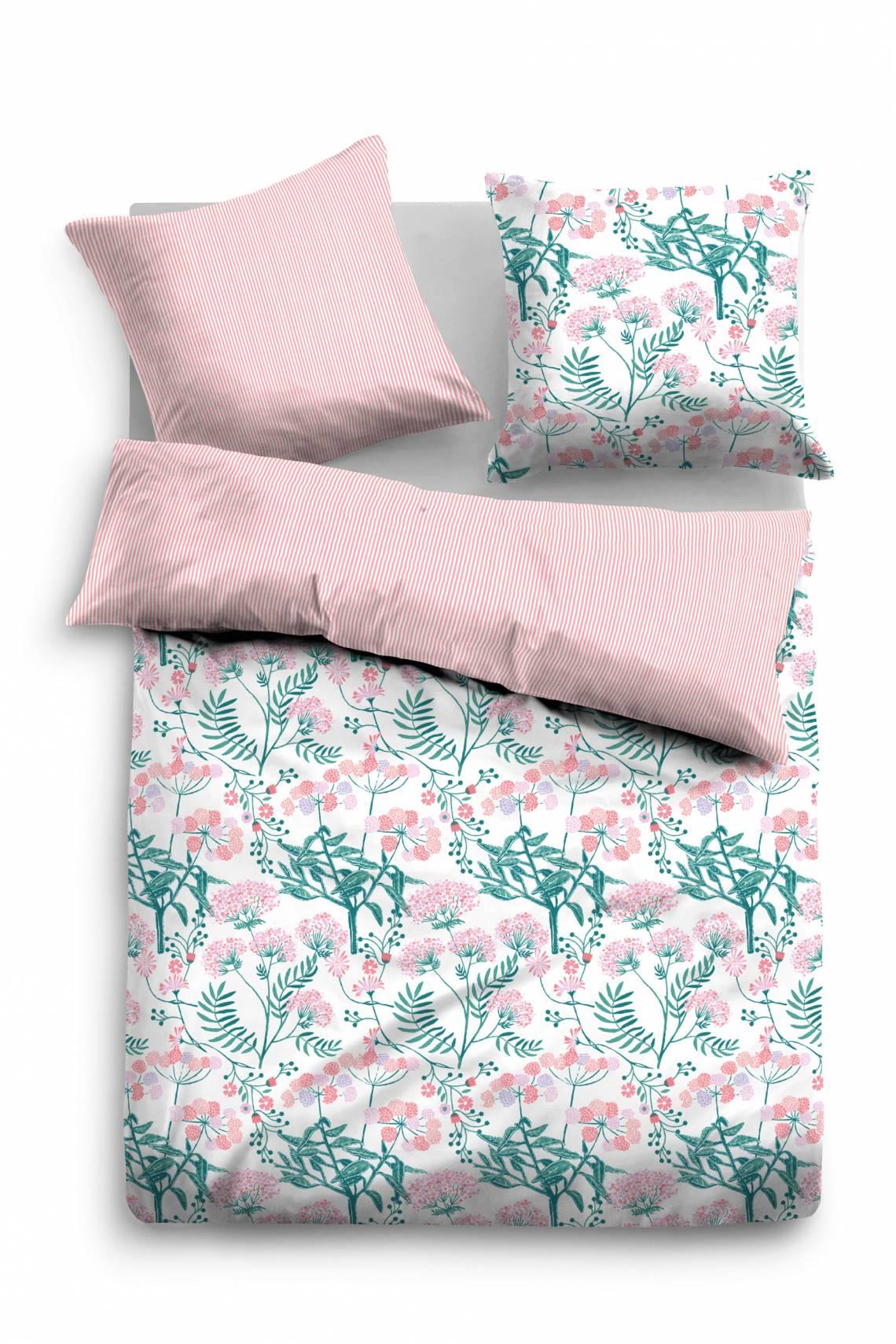 Tom Tailor Home Satin Bettwäsche midnight flowers rosa/weiß