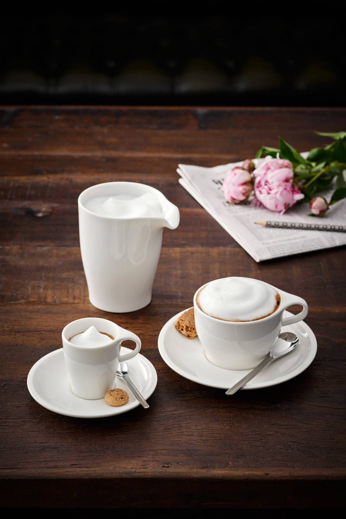 Villeroy und Boch Coffee Passion Milchkännchen, Cappucchino- und Espresso-Set Milieu