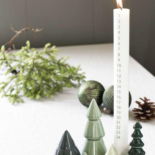 Dottir: Adventskalenderkerze mit Tannenbäume