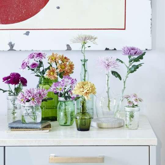 Farbenfrohe Chrysanthemen in verschiedenen Vasen