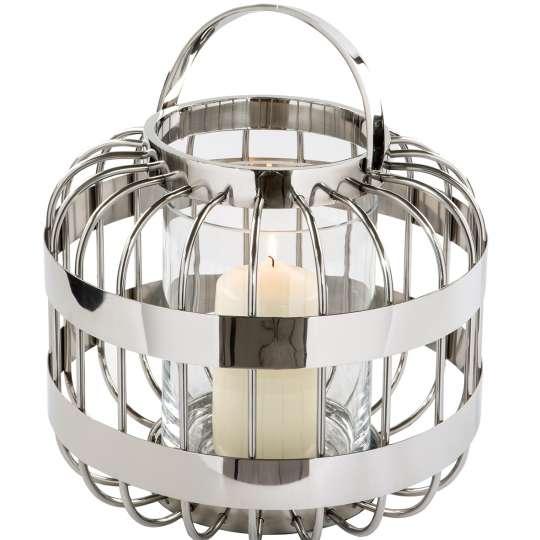 Fink Living / Neuheiten Frühjahr 2020/ Windlicht 159039 CAMERON  mit Glas, Edelstahl