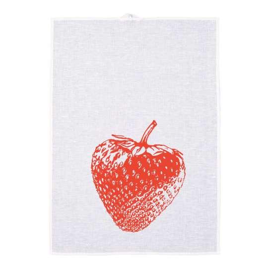 Frohstoff Geschirrtuch Erdbeere Rot Halbleinen 157