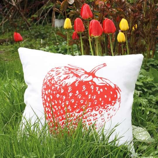 Frohstoff Leinenkissen Erdbeere Mood