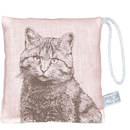 Frohstoff Lavendelkissen Leinen rosa, Wildkatze