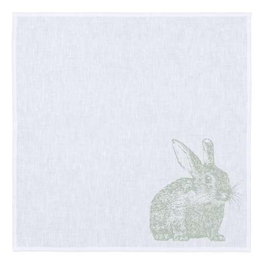 Frohstoff Serviette weiss, Kaninchen grün