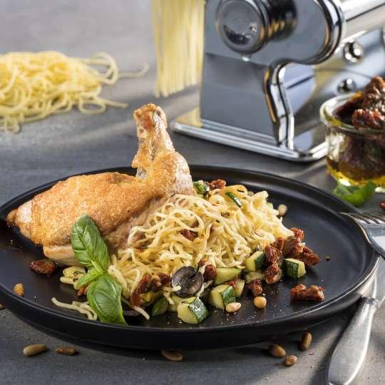 Spaghetti mit Perlhuhnbrust