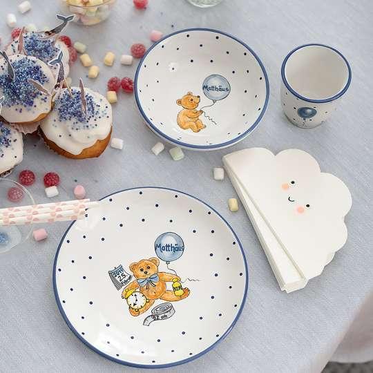 Gmundner Keramik: Kindergeschirr für die Kleinsten / Set personalisiert, blau, Mood