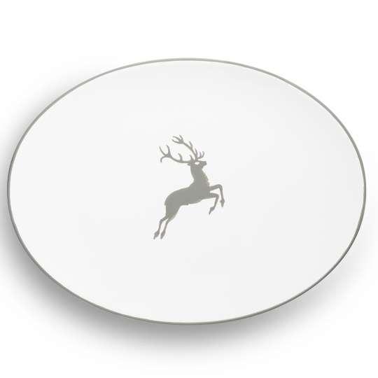 Gmundner Keramik: Muttertag / Grauer Hirsch Platte oval - 0319POSE28