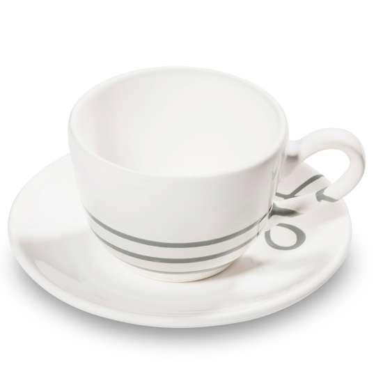 Gmundner Keramik: Graugeflammt und Pudertöne / Kaffeetasse /0111TTGL11 mit Unterteller /0111TUCU15