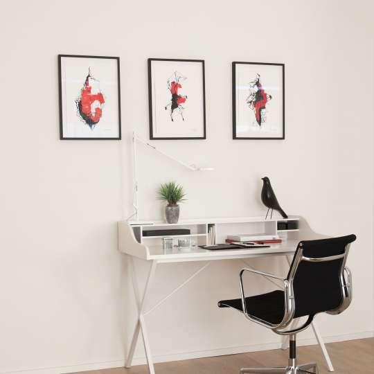 Die Strahlkraft von Weiß wird noch mehr unterstrichen, wenn man starke Akzente setzt, z. B. Radierungen oder farbenfrohe Motive mit einem schwarzen Aluminium- bzw. sehr dunklen Holzrahmen versieht.