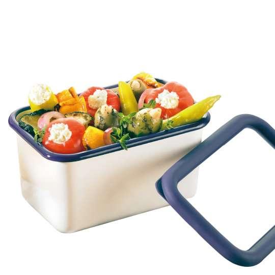 Frischhaltedose aus Emaille mit Salat