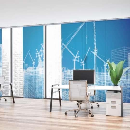 Schiebegardinen sind eine moderne vertikale Sonnenschutz-Lösung und werden gern vor großen Fensterfronten in Wohnzimmern bzw. Büroräumen eingesetzt.