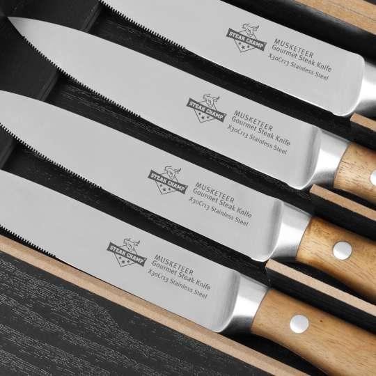 Tecpoint Steakmesser-Set 4 MUSKETEERS Detail