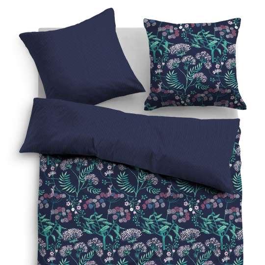 Tom Tailor Home Satin Bettwäsche midnight flowers dunkelblau