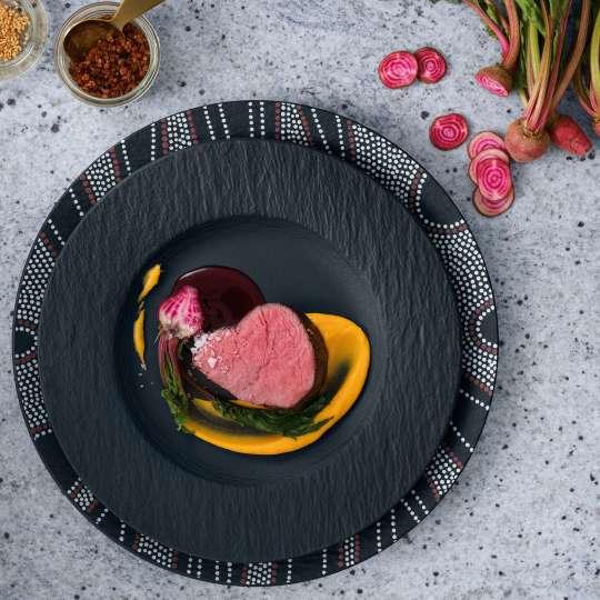 Villeroy & Boch - schwarz - Rezept Hauptgang - Falsch herum gebratenes Rinderfilet mit Süßkartoffelpüree