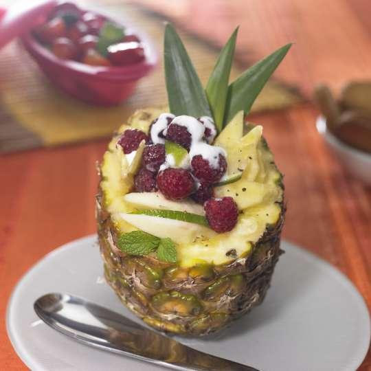 Obstpapillote mit Kokosmilch