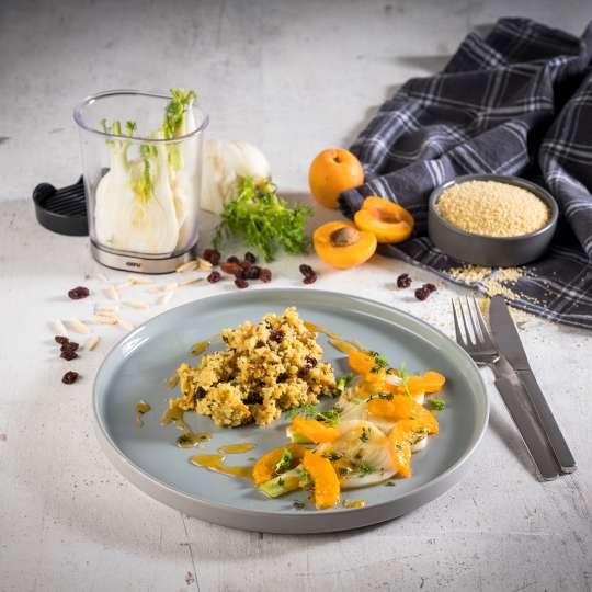 GEFU - Kräuter-Gewürz-Couscous mit Fenchel-Aprikosen-Gemüse / quer