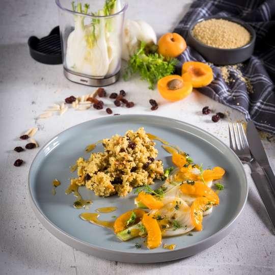 GEFU - Kräuter-Gewürz-Couscous mit Fenchel-Aprikosen-Gemüse / hoch